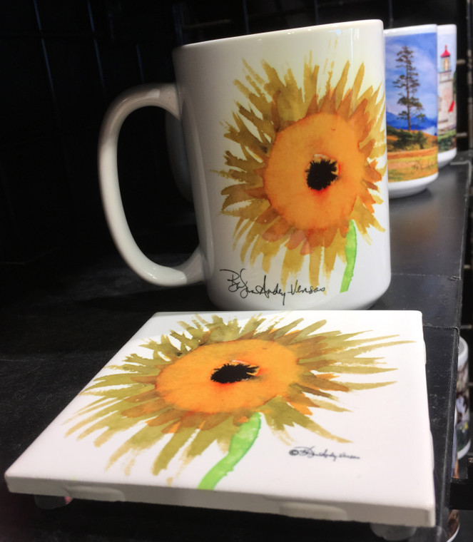 Coffee Mug and Coaster  Set - Sunflower