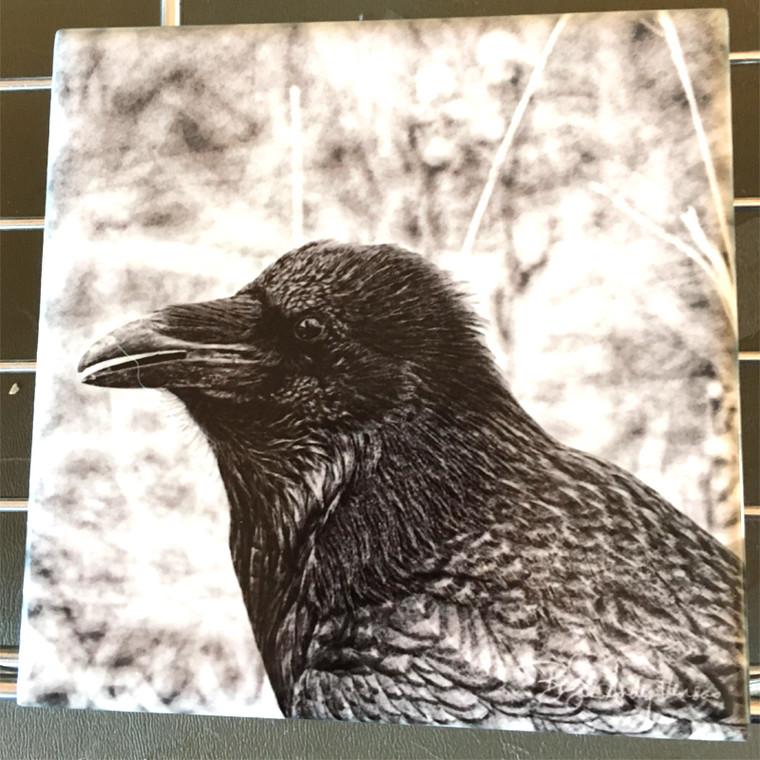 Ceramic Tile or Coaster - Raven Black and White 4.25 In x 4.25 In