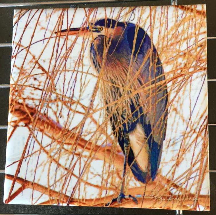 Ceramic Tile or Coaster - Heron in Willow  4.25 In x 4.25 In