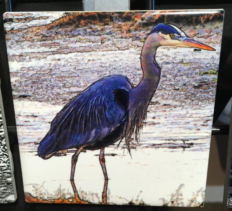 Ceramic Tile or Coaster - Heron Feeding  4.25 In x 4.25 In