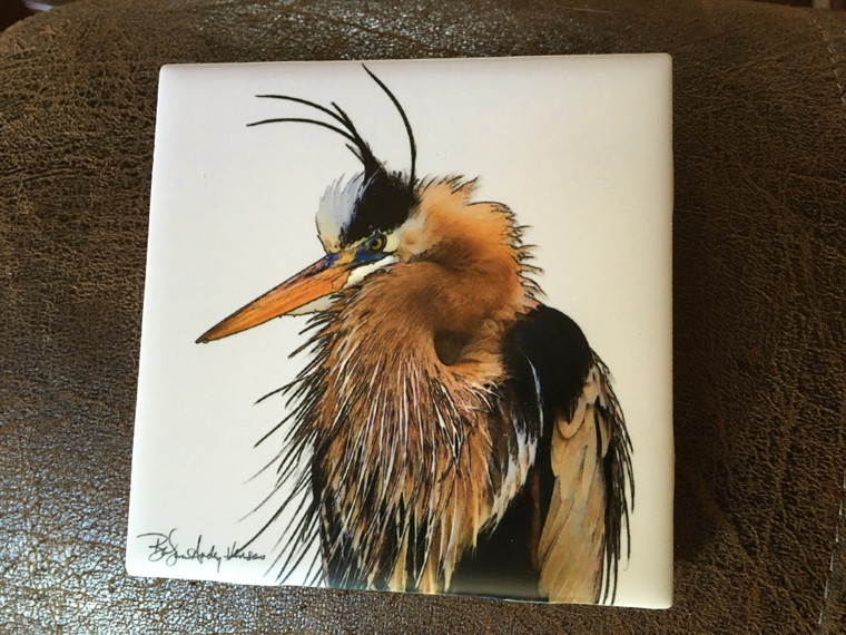 Ceramic Tile or Coaster - Fort Myer Heron  4.25 In x 4.25 In
