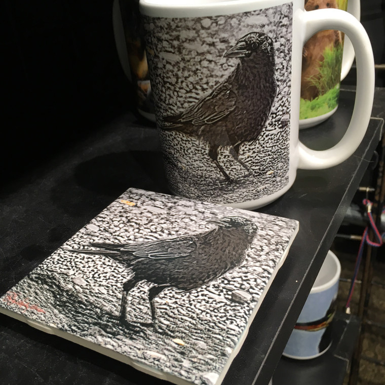 Coffee Mug and Coaster  Set - Black and White Crow