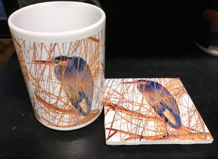 Coffee Mug and Coaster  Set - Heron in Willow