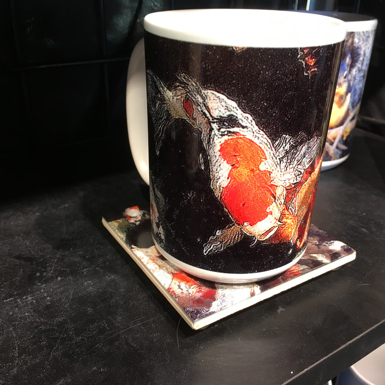Coffee Mug and Coaster  Set - Koi