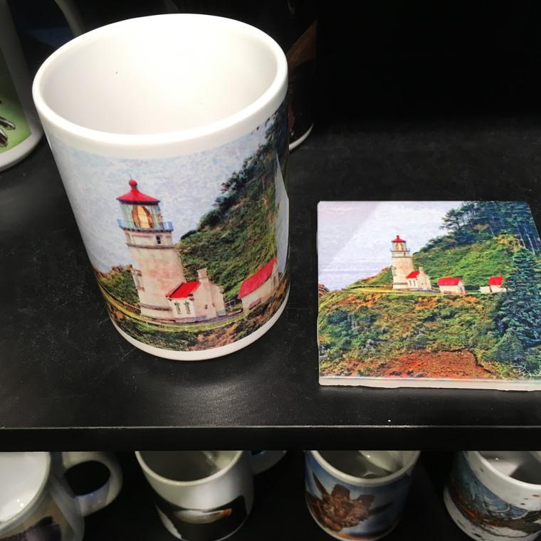 Coffee Mug and Coaster  Set - Heceta Head Light