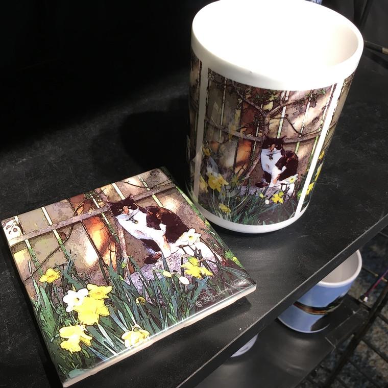Coffee Mug and Coaster  Set - Cat in Garden