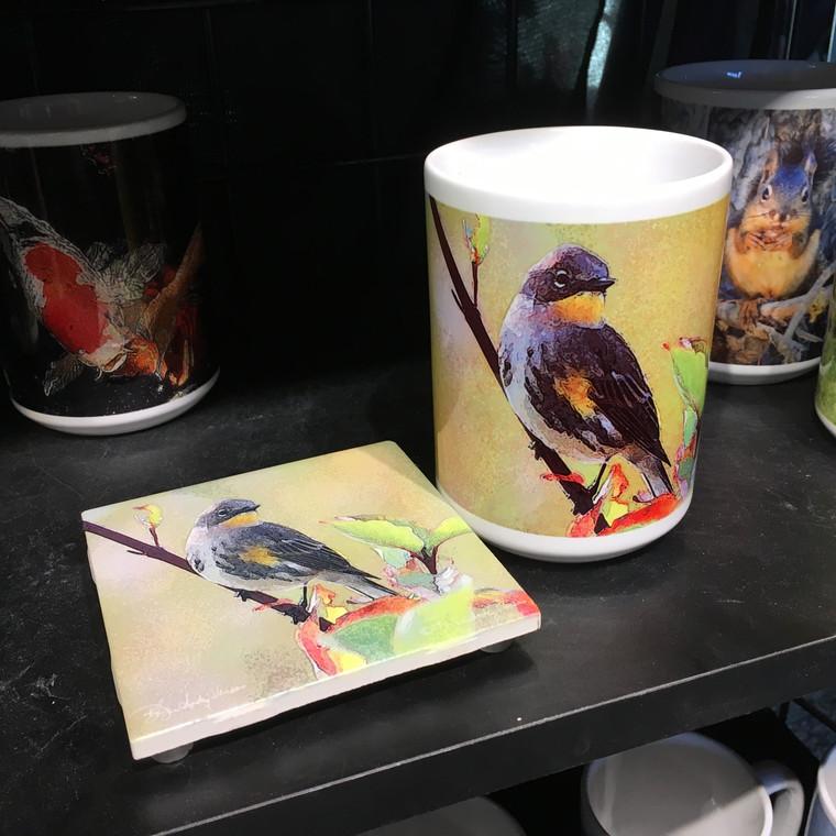 Coffee Mug and Coaster  Set - Warbler