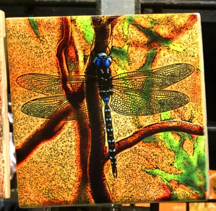 Ceramic Tile or Coaster - Blue Dragonfly  4.25 In x 4.25 In
