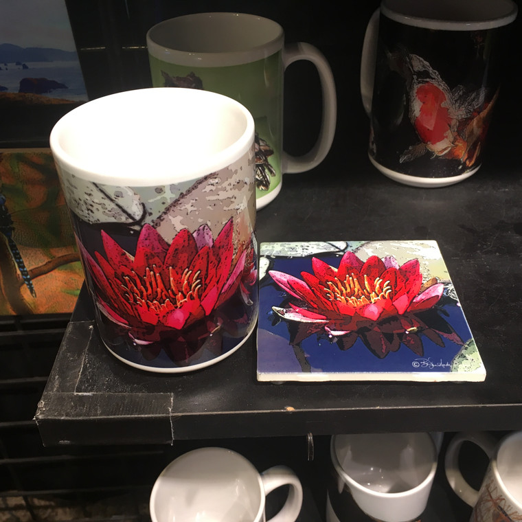 Coffee Mug and Coaster Set - Red Lily