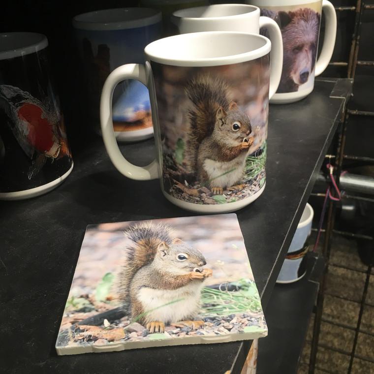 Coffee Mug and Coaster  Set -  Red Squirrel MN