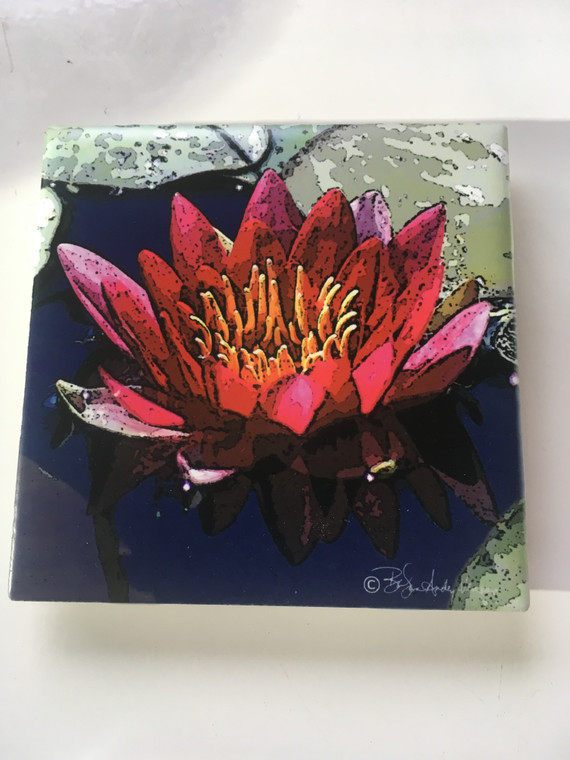 Ceramic Tile or Coaster - Red Lily 4.25 In x 4.25 In