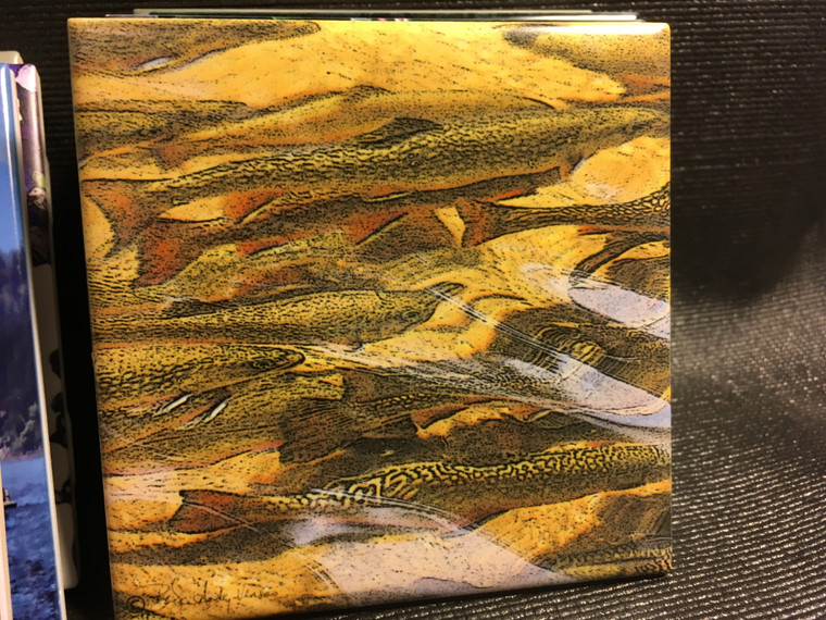 Ceramic Tile or Coaster - Trout Dream 4.25 In x 4.25 In
