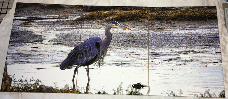 Heron Feeding Tile Mural Glossy - 3 - 6 x 8 in Tiles (8 in x 18 in)