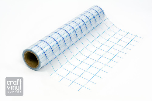 """Grid-Lined Clear Transfer Tape 12""""x30' Roll (Blue Lines)"""