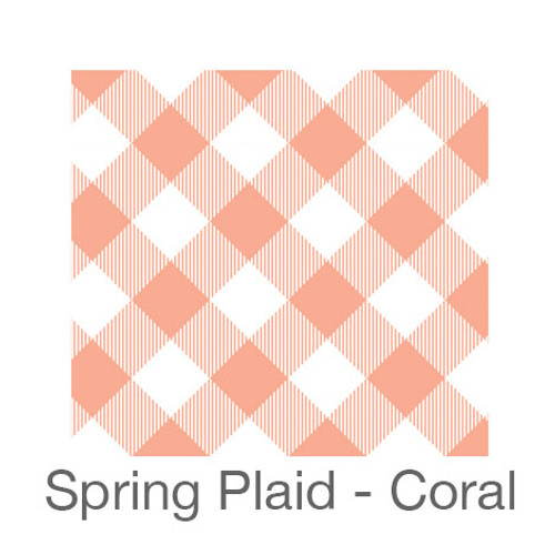 """12""""x12"""" Patterned HTV - Spring Plaid - Coral"""