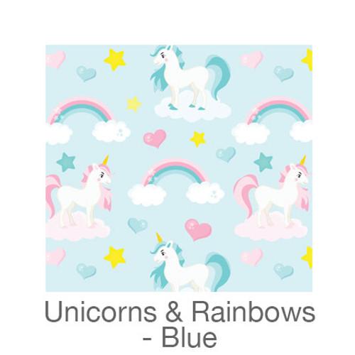"12""x12"" Patterned HTV - Unicorns & Rainbows - Blue"