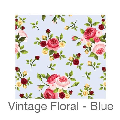 """12""""x12"""" Patterned HTV - Vintage Floral - Blue"""
