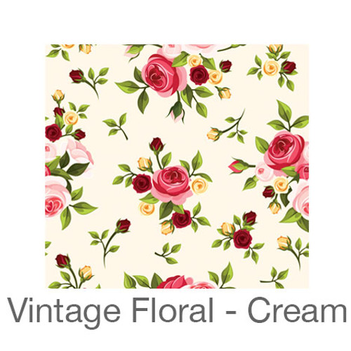 """12""""x12"""" Patterned HTV - Vintage Floral - Cream"""