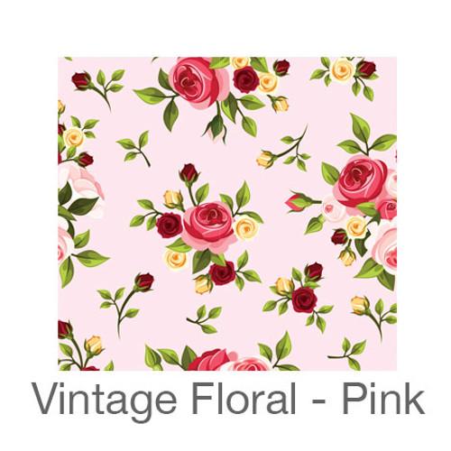 """12""""x12"""" Patterned HTV - Vintage Floral - Pink"""
