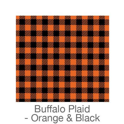 "12""x12"" Permanent Patterned Vinyl - Buffalo Plaid - Orange/Black"