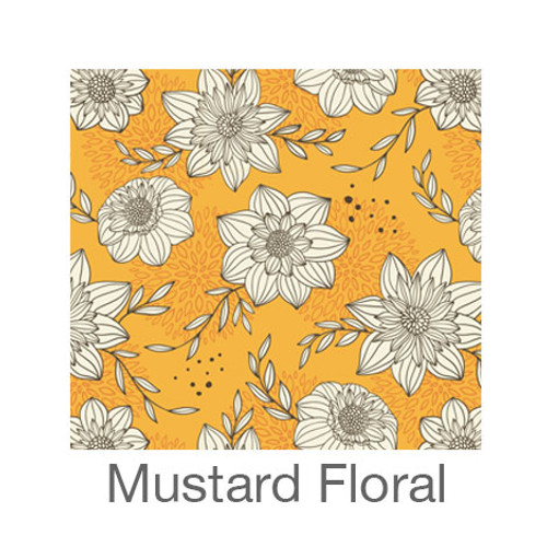 "12""x12"" Permanent Patterned Vinyl - Mustard Floral"