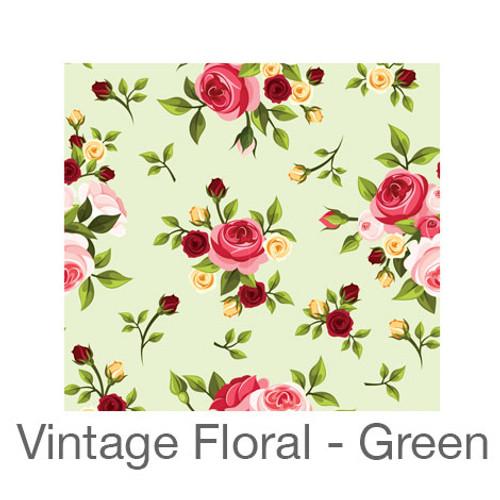 "12""x12"" Permanent Patterned Vinyl - Vintage Floral - Green"
