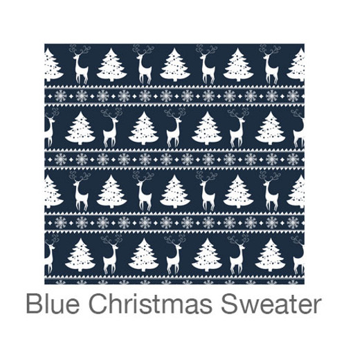 """12""""x12"""" Patterned HTV - Blue Christmas Sweater"""
