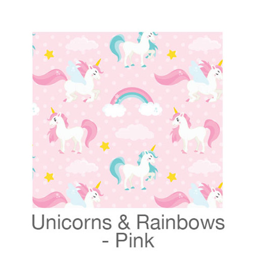 "12""x12"" Permanent Patterned Vinyl - Unicorns & Rainbows - Pink"