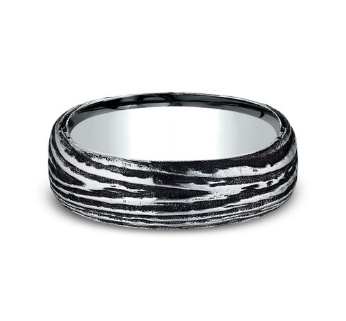 7.50 mm Black Cobalt Tree Bark Design Wedding Ring - Size 10