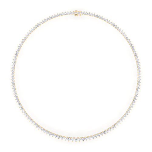 14K Yellow Gold Lab Grown Tennis Necklace (10.54 TCW)