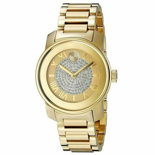 Movado Gold Bold Pave Crystal Watch