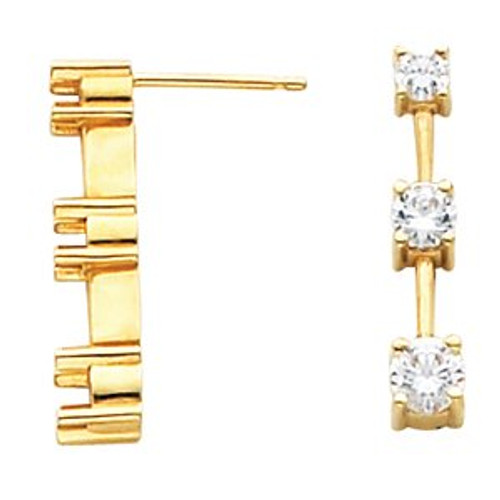Belle 14K Yellow Gold Three Stone Earrings