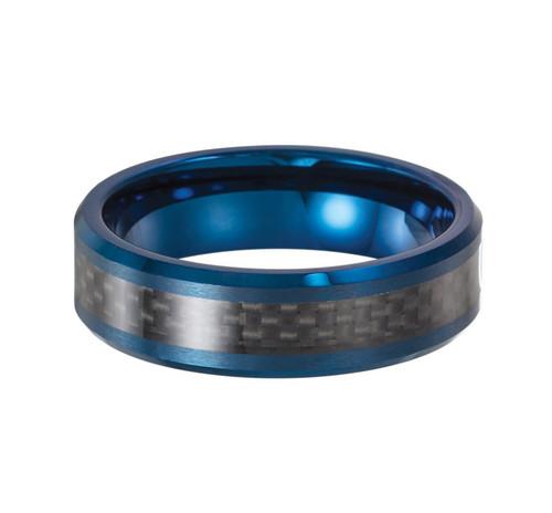 8.00mm Blue EnameledTungsten Black Carbon Center Inlay Comfort Fit Beveled Edge Wedding Ring