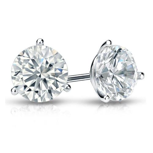 1.5 CT. TW. Round Diamond Studs Platinum 3-Prong Martini Earrings