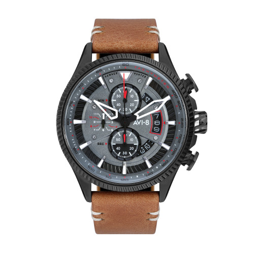 45MM Men's Hawker Hunter AVI-8 Scarlet Brown Watch