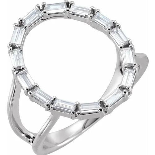 14K White Gold 1/2 CTW Diamond Negative Space Ring