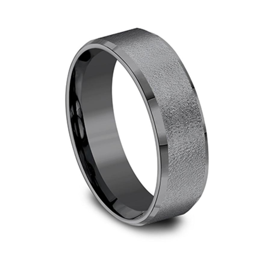 7.00 mm Black Tantalum Wire Brushed Beveled Edge Wedding Ring