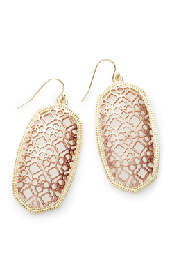 Danielle Earrings in Rose and Gold Filigree Mix