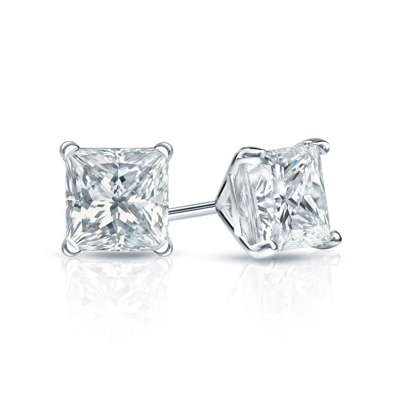 Platinum Princess Diamond Studs 4-Prong Martini Earrings (1.0 TCW)