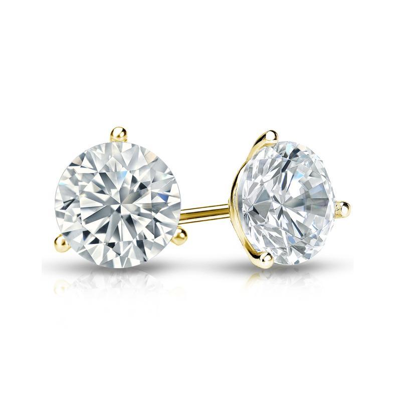 1.0 CT.TW. Round Diamond Studs 14K Yellow Gold 3-Prong Martini Earrings