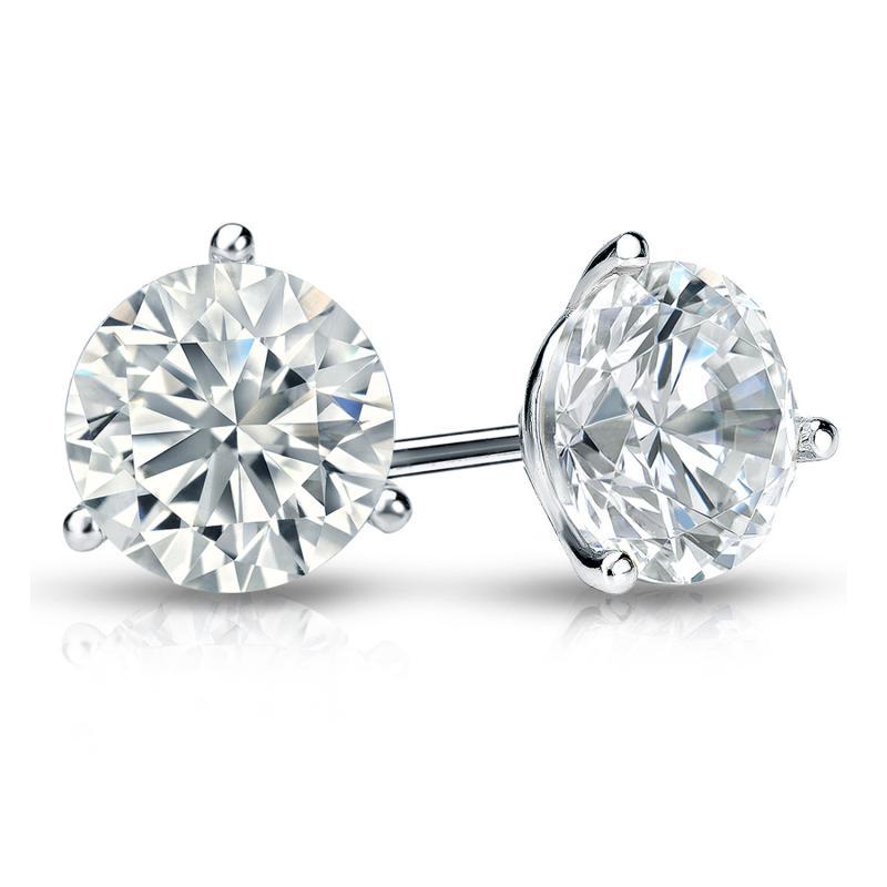 1.41 CT. TW. Round Diamond Studs 14K White Gold 3-Prong Martini Earrings