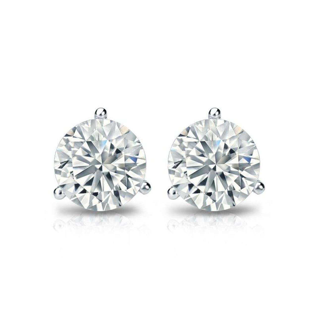 14K White Gold Martini Lab Grown Diamond Studs (0.75 TCW)