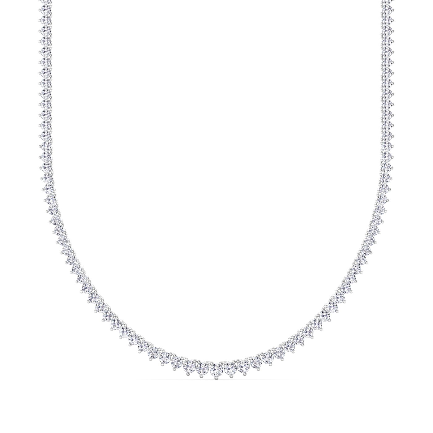 14K White Gold Lab Grown Tennis Necklace (10.48 TCW)