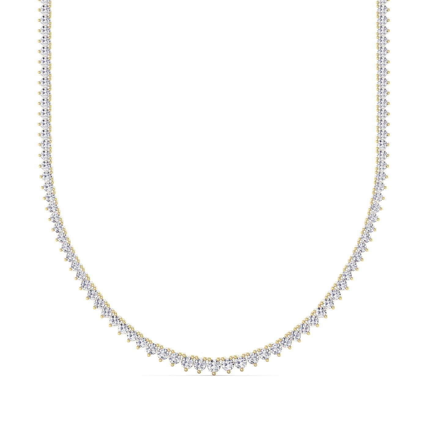 14K Yellow Gold Lab Grown Diamond Tennis Necklace (10.54 TCW)