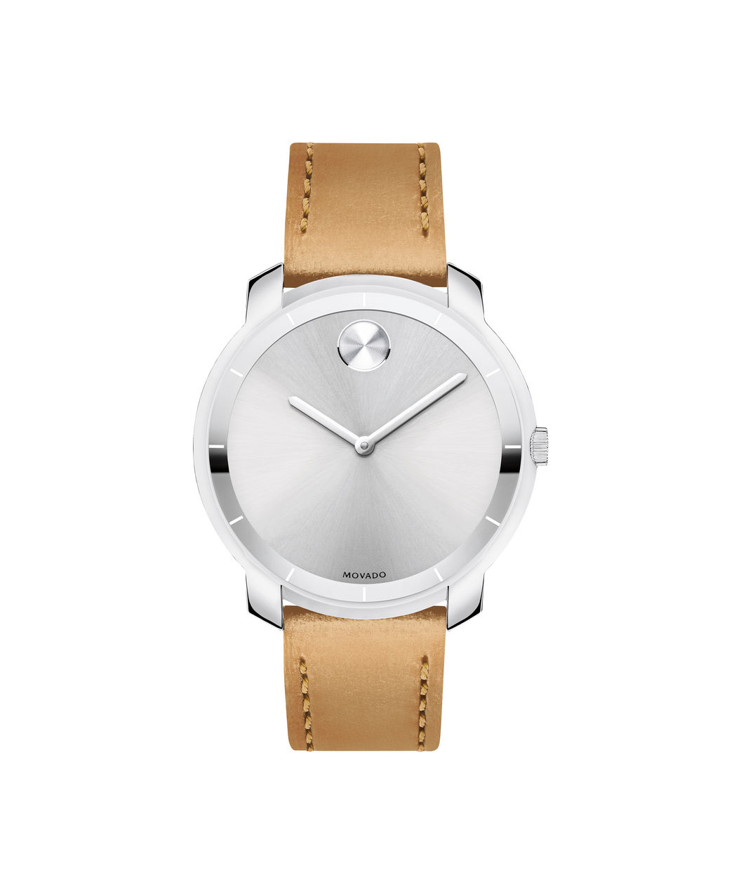 Movado Bold Silver Dial Leather Strap Watch