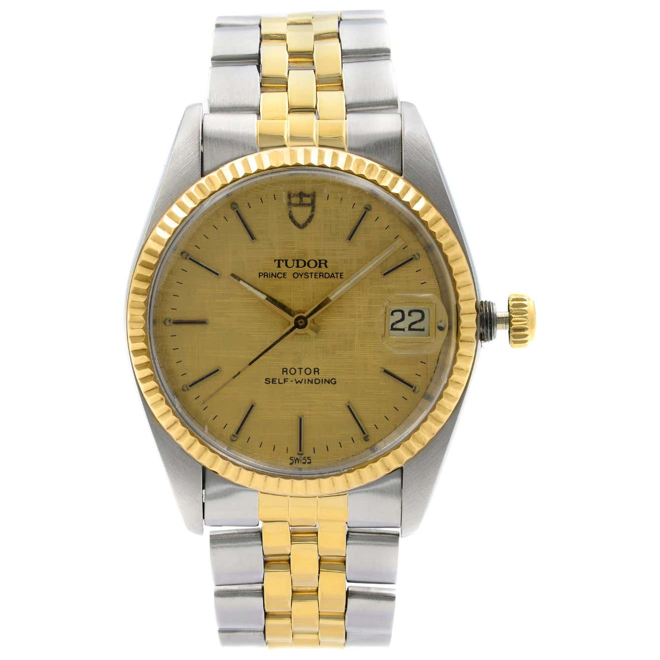 Tudor Prince Oysterdate 18k Yellow Gold Steel Satin Dial Automatic Watch 75203