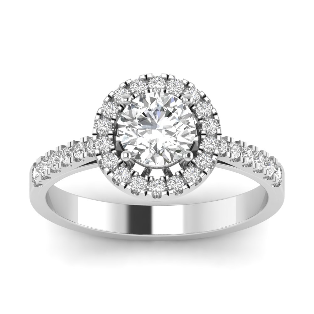 Madison 14K White Gold Round  Lab Grown Diamond Halo Diamond Engagement Ring