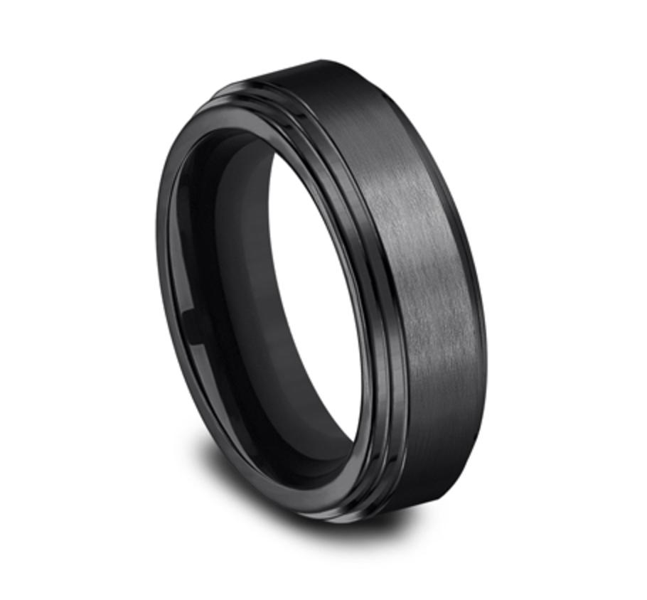 8.00mm Black Titanium Satin Finish Double Edge Wedding Ring