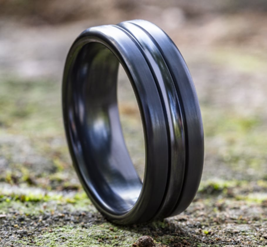 7.50mm Black Titanium Center Carved Satin Finish Wedding Ring
