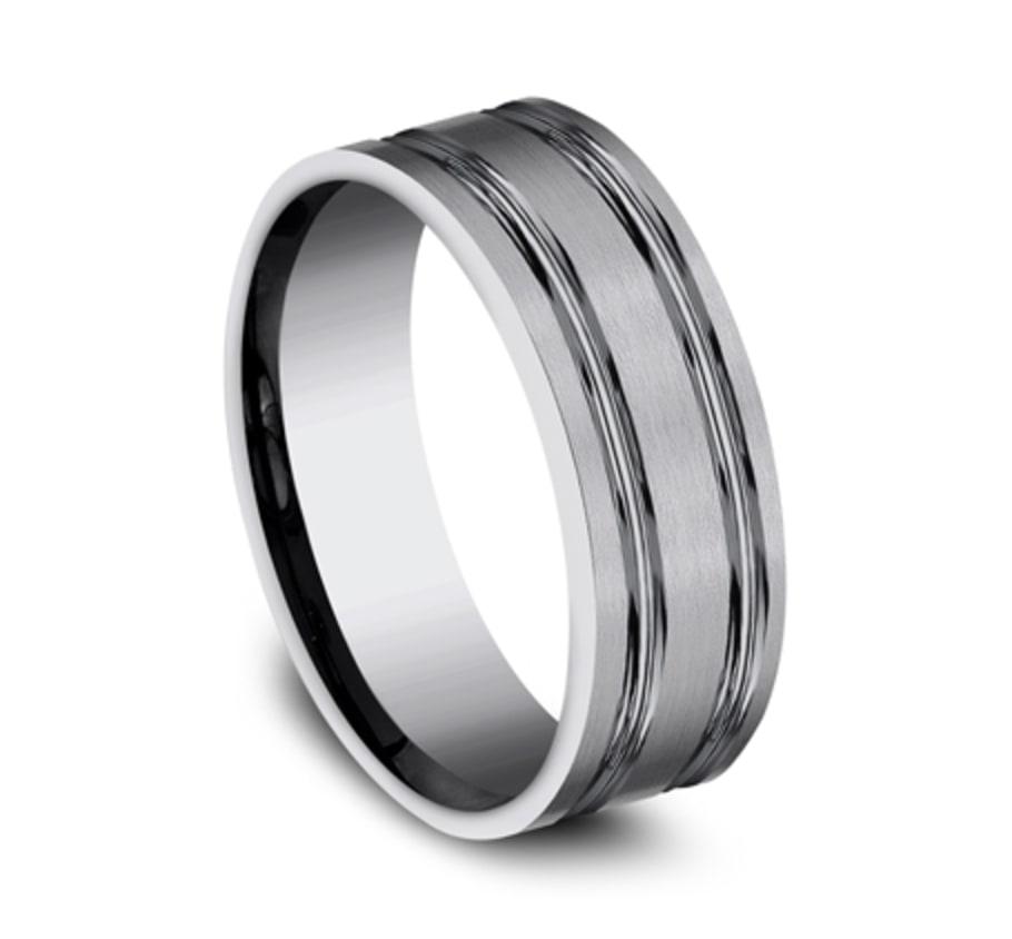 8.00mm Titanium Double Groove Satin Finish Wedding Ring